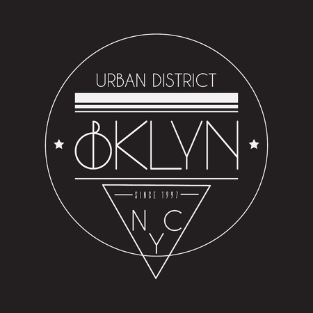 BKLYN. Urban disctrict.  Typographical background in minimalistic style with grunge texture and silhouette of skyscrapers. Template for card poster banner print for t-shirt.