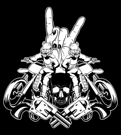 Vector Hand Drawn Illustration Of Motorcyclist Surreal Tattoo Artwork With Human Skull Rock