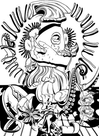 Ilustración de dibujado a mano de vector con chica gritando, tentáculos, rosas, venus atrapamoscas. Tatuaje ilustraciones surrealistas. Plantilla para tarjeta, póster, banner, impresión de camiseta, textiles, etiqueta, libro para colorear.