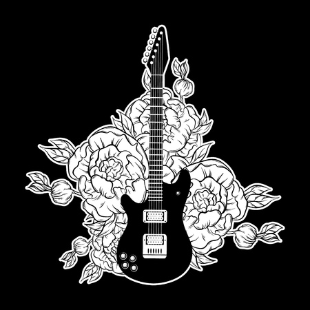 Vector hand drawn illustration of guitar and flowers . Tattoo artwork.  Template for card, poster, banner, print for t-shirt, label. Illustration