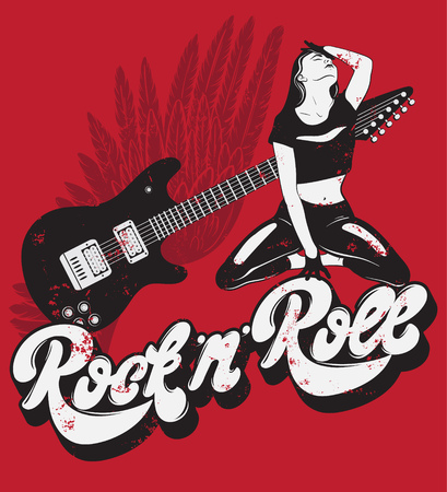 Rock ' n ' Roll.  Handwritten lettering made in 90's style with vintage texture. Hand drawn illustration of girl, guitar with wings. Template for card, poster, banner, label,  print for t-shirt. Vectores