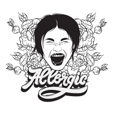Allergic. Vector handwritten lettering. Hand drawn illustration of screaming girl and flowers.  Template for card, poster, banner, print for t-shirt.