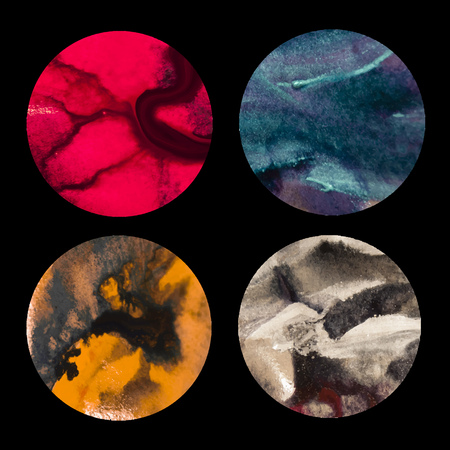 Vector set of  hand drawn  watercolor texture in circle shape. Unique artwork. Template for card, poster, banner, print for t-shirt. 일러스트