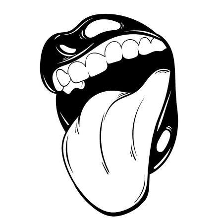 Vector mano dibujada ilustración de boca con lengua. Plantilla para tarjeta, póster, pancarta, impresión para camiseta, pin, etiqueta, parche.