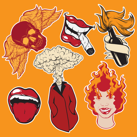 Vector hand drawn collection of pins and fashion badges.