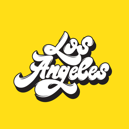 Los Angeles. Vector handwritten  lettering. Type for card, poster, banner, print for t-shirt, badge, pin. Ilustração