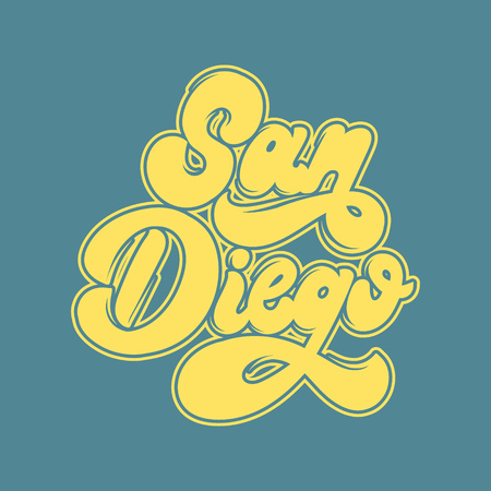 San Diego. Vector handwritten lettering isolated. Template for card, poster, banner, print for t-shirt, label, badge and pin.  イラスト・ベクター素材