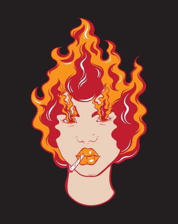 Vector colorful  hand drawn illustration of girl with fire and cigarette.  Tattoo artwork made in 90's style. Template for card, poster, banner, print for t-shirt, textiles, badge, sticker, pin.  Ilustracja