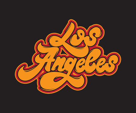 Los Angeles. Vector handwritten  lettering. Type for card, poster, banner, print for t-shirt, badge, pin. Illustration