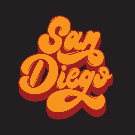 San Diego. Vector handwritten lettering isolated. Template for card, poster, banner, print for t-shirt, label, badge and pin. Ilustração