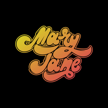 Mary Jane. Vector handwritten lettering. Template for card, poster, banner, print for t-shirt ,pin, badge. Illustration