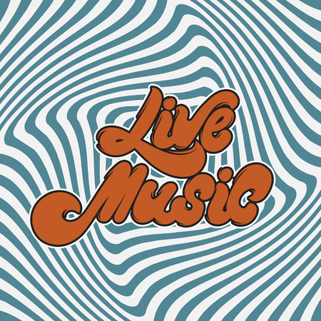 Live music, vector handwritten lettering. Template for card, poster, banner, print for t-shirt, label, pin and badge.