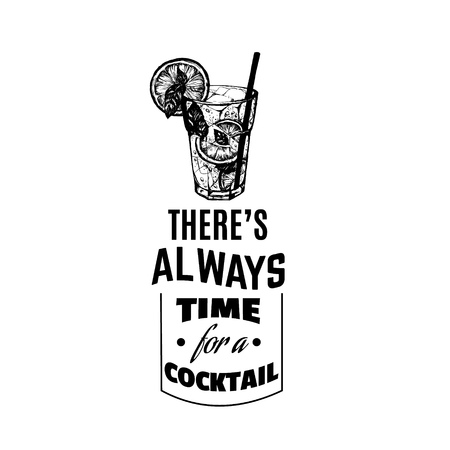 Quote typographical background avout cocktail. Vector illustration of alcoholic cocktail. Hand drawn sketch of mojito with slice of lime and straw. Bar menu design. Cocktail party icon. Template for сard and poster. 일러스트
