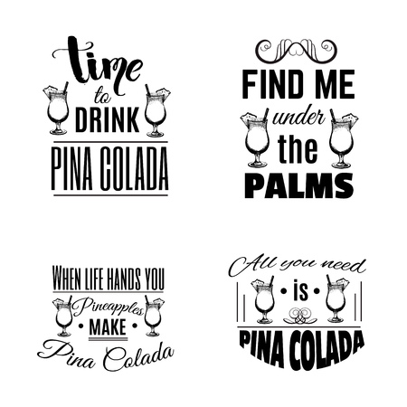 Set of quote typographical background about cocktail with Vector illustration of alcoholic cocktail. Hand drawn sketch of pina colada with slice of pineapple. Bar and pub menu design. Ilustração