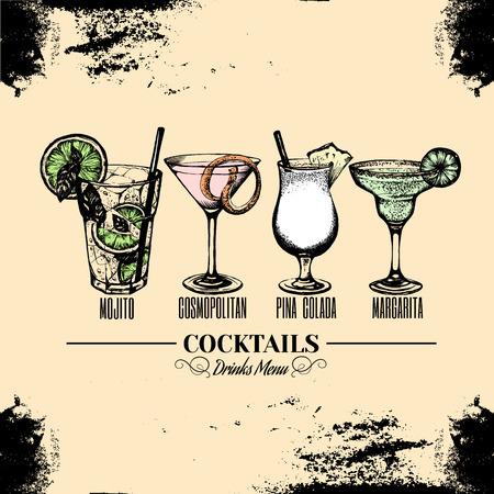 Vector illustration of alcoholic cocktail in Hand drawn sketch, Bar menu design.