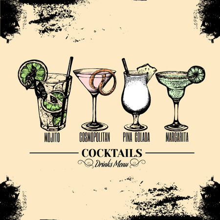 Vector illustration of alcoholic cocktail in Hand drawn sketch, Bar menu design.