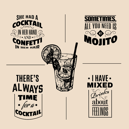 Collection of quote about cocktail drinks typographical backgrounds in hand drawn sketch of mojito with slice of lime and straw. Bar menu design. Иллюстрация