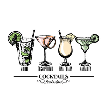 Vector illustration of alcoholic cocktail, Hand drawn sketch, Bar menu design. Cocktail party icon.