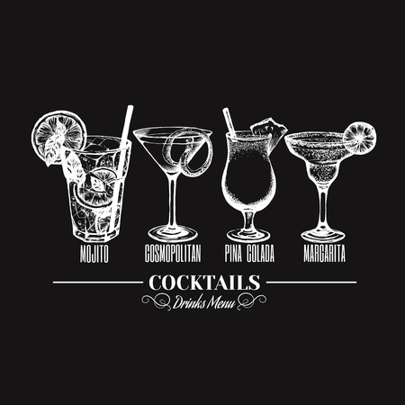Vector illustration of alcoholic cocktail. Hand drawn sketch of mojito margarita pina colada and cosmopolitan with slice of lime and straw. Bar menu design. Cocktail party icon. Template for card and poster  イラスト・ベクター素材