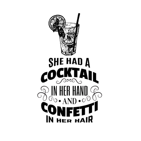 Typograpgical illustration about alcoholic cocktail. Hand drawn sketch of mojito with slice of lime and straw. Bar menu design. Cocktail party icon. Illustration