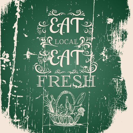 Illustration of basket with organic food made in line hand drawn vector style. Template for poster business card and banner. Quote typographical background.
