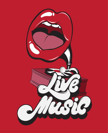 Live music, Vector handwritten lettering with surreal gramophone with mouth.