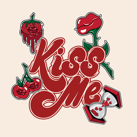 Kiss me, handwritten lettering isolated made in 90's style with illustrations. Template for card, poster, banner, print for t-shirt, pin and badge.