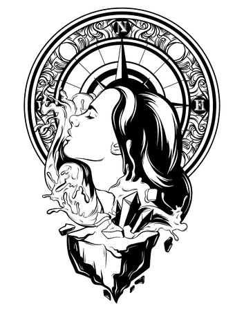 Vector hand drawn illustration of pretty woman with waves and rock. Creative tattoo artwork with vintage compass. Template for card, poster, banner, print for t-shirt. Illustration