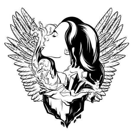 Vector hand drawn illustration of pretty woman with waves, wings and rock. Creative tattoo artwork. Template for card, poster, banner, print for t-shirt.