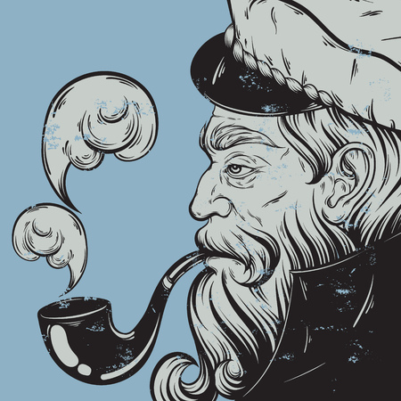 Vector hand drawn illustration of captain with pipe. Tattoo artwork in realistic style. Template for card, poster, banner, print for t-shirt, coloring books.  イラスト・ベクター素材