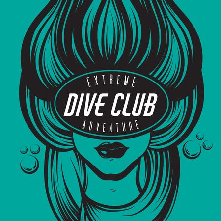 Vector dibujado a mano ilustración de buzo femenino con olas marinas en la máscara. Cartel creativo. Plantilla para tarjeta, póster, pancarta, impresión para camiseta.