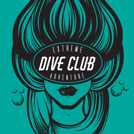 Vector hand drawn illustration of female diver with marine waves in the mask . Creative placard. Template for card, poster, banner, print for t-shirt.