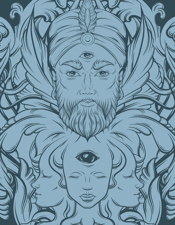 Vector hand drawn illustration of fortune teller with three eyes. Hand sketched creative surreal artwork. Template for card poster, banner, print for t-shirt. Tattoo art.