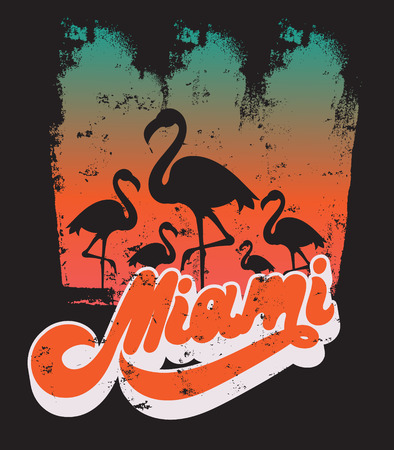 Vector colorful poster with handwritten lettering, illustration of flamingo . Template for card, placard, banner, print for t-shirt, pin , badge and patch.