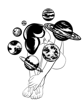 Vector hand drawn illustration of beautiful woman with planets of solar system. Template for card, poster, banner, print for t-shirt, pin, badge and patch.  Illustration