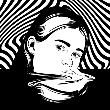 Vector hand drawn illustration of girl in surrealistic style.