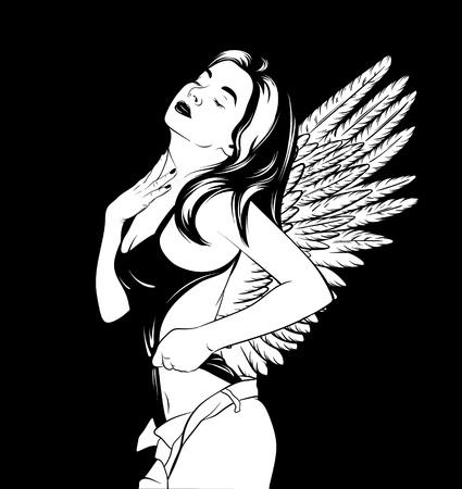 Gezeichnete Illustration des Vektors Hand der jungen Schönheit. Realistisches Porträt des hübschen Mädchens im Badeanzug mit Flügeln. Vorlage für Karte, Plakat, Banner, Druck für T-Shirt, Etikett, Textilien.