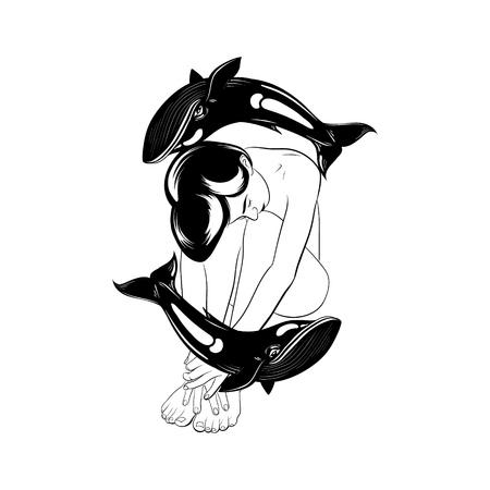 Vektorhand gezeichnete Illustration der schönen Frau mit Walen. Tattoo Kunstwerk. Vorlage für Karte, Poster, Banner, Druck für T-Shirt, Anstecknadel, Abzeichen und Aufnäher.