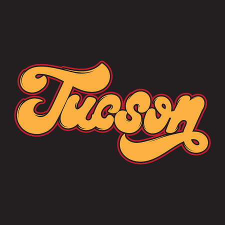 Tucson. Vector handwritten lettering made in old school style isolated. Template for card, poster, banner, print for t-shirt, badge, pin and patch.