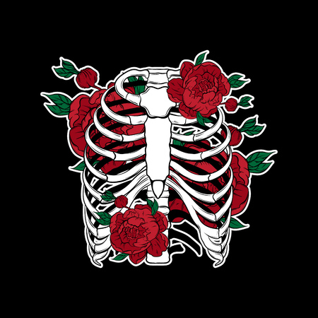 Vector hand drawn illustration of human ribs with flowers isolated. Template for card, poster, banner, print for t-shirt, pin, badge, patch.  Vectores