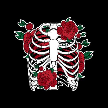 Vector dibujado a mano ilustración de costillas humanas con flores aisladas. Plantilla para tarjeta, póster, pancarta, impresión para camiseta, pin, insignia, parche.