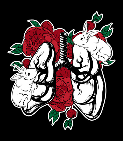 Vector hand drawn placard with lungs, rabbits and flowers. Tattoo artwork. Template for card, poster, banner, print for t-shirt. Ilustrace