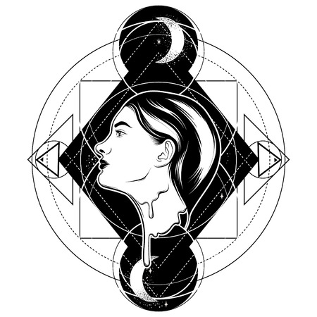 Vector hand drawn illustration of melting girl isolated. Creative tattoo artwork.  Template for card, poster, banner, print for t-shirt, pin, badge and patch.