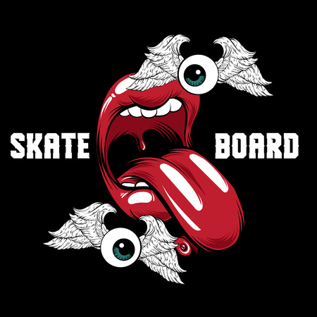 Skateboard. Vector placard with hand drawn surreal illustration of open mouth with skate. Creative colorful sketch. Template for card, poster, banner, print for t-shirt, pin, badge and patch.  Illustration