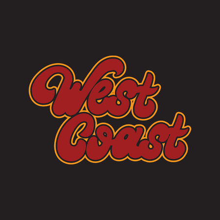 West coast. Vector handwritten lettering isolated. Template for card, poster, banner, print for t-shirt.