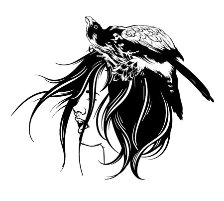 Vector hand drawn illustration of falcon isolated. Surreal tattoo artwork with portrait of screaming girl. Template for card, poster, banner, print for t-shirt, placard.