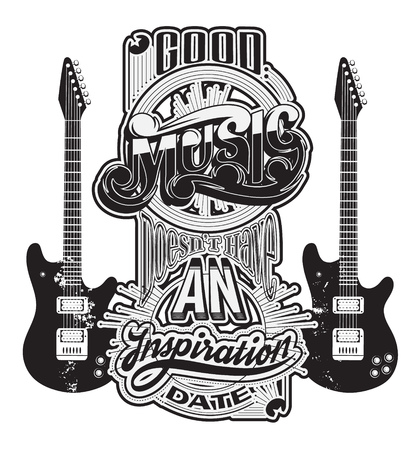 Vector handwritten lettering made in 90's style with guitars. Template for card, poster, banner, label,  print for t-shirt.