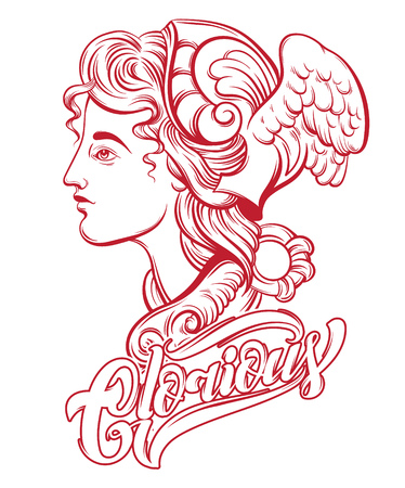 Glorious. Vector hand drawn illustration of Hermes. Handwritten lettering. Template for card, poster. banner, print for t-shirt, pin, badge, patch