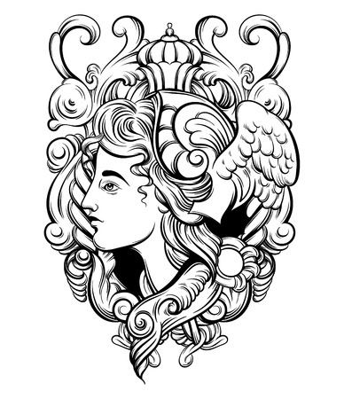 Vector hand drawn illustration with baroque frame. Tattoo artwork. Template for card, poster. banner, print for t-shirt, pin, badge, patch.