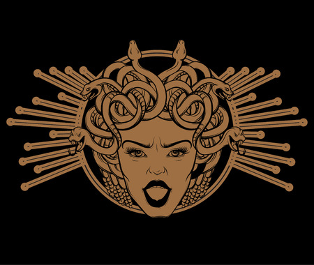 Vector hand drawn illustration of Gorgon . Tattoo artwork. Template for card, poster. banner, print for t-shirt, pin, badge, patch